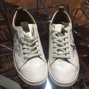 Aldo Mens White Sneakers w/studded suede Star